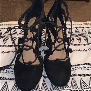 Black block lace up heels